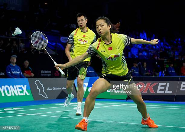 Chen Xu and Jin Ma of China in action in the semifinals durng the Yonex Denmark Open MetLife BWF World Superseries at Odense Idratspark on October 18...