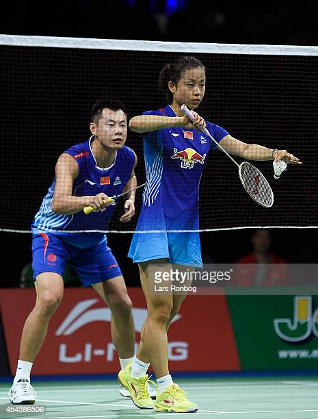 Chen Xu and Jin Ma of China winning against Christinna Pedersen and Joachim Fischer Nielsen of Denmark in the semifinals during the LiNing BWF World...