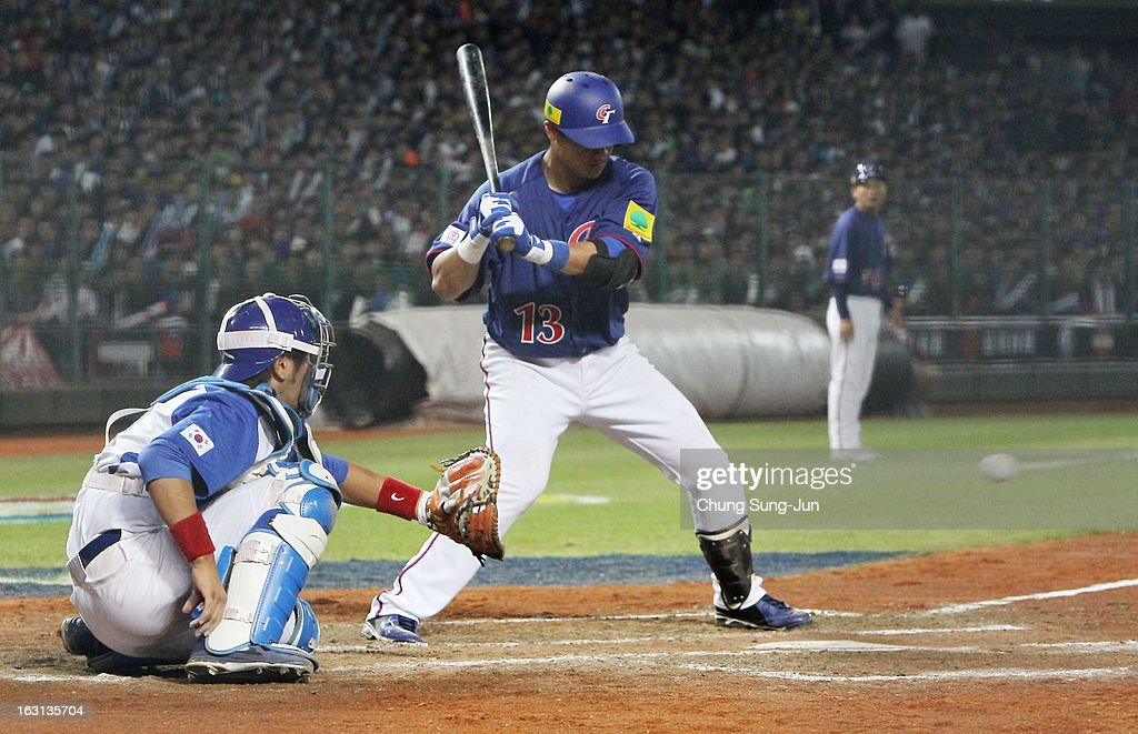 Chen Yung-Chi of Chinese Taipei bats in the fifth inning during the World Baseball Classic First Round Group B match between Chinese Taipei and South Korea at Intercontinental Baseball Stadium on March 5, 2013 in Taichung, Taiwan.