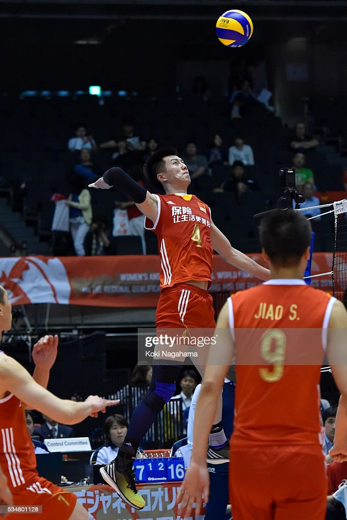 Chen Zhang #4 of China spikes the ball during the Men's World Olympic Qualification game between China and France at Tokyo Metropolitan Gymnasium on May 28, 2016 in Tokyo, Japan.
