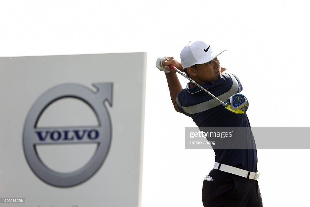 Chen Zihao of China plays a shot during the second round of the Volvo China open at Topwin Golf and Country Club on April 30, 2016 in Beijing, China.