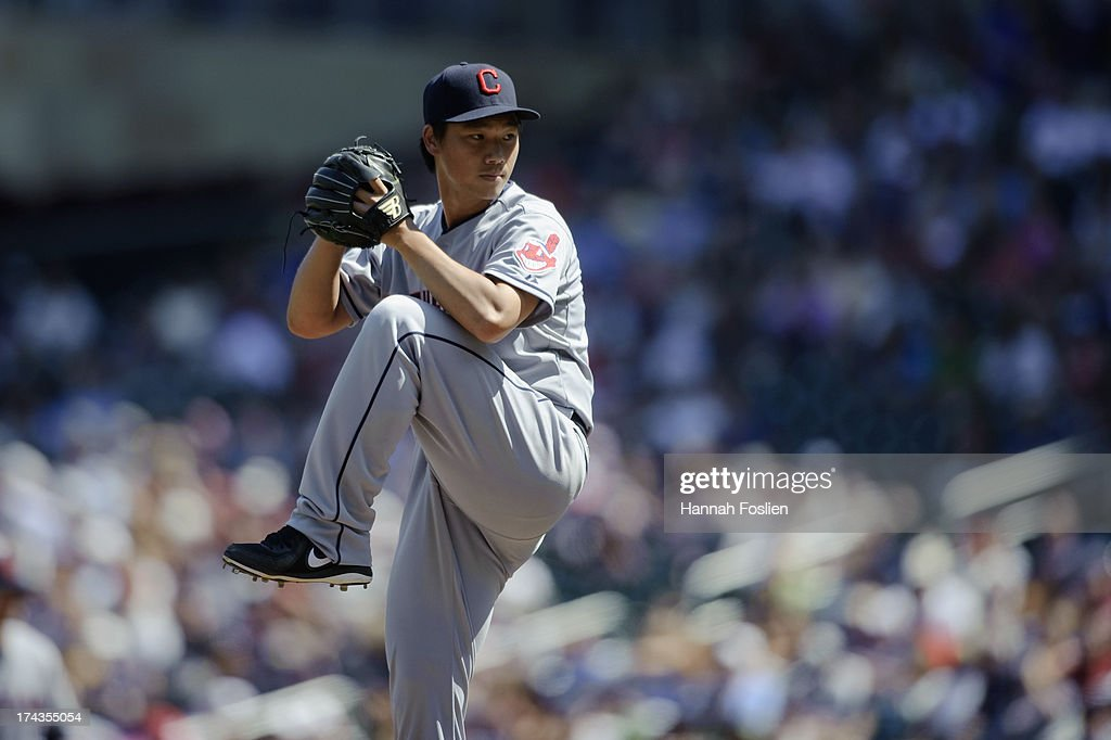 Chen-Chang Lee #20 of the Cleveland Indians delivers a pitch against the Minnesota Twins during the game on July 21, 2013 at Target Field in Minneapolis, Minnesota.