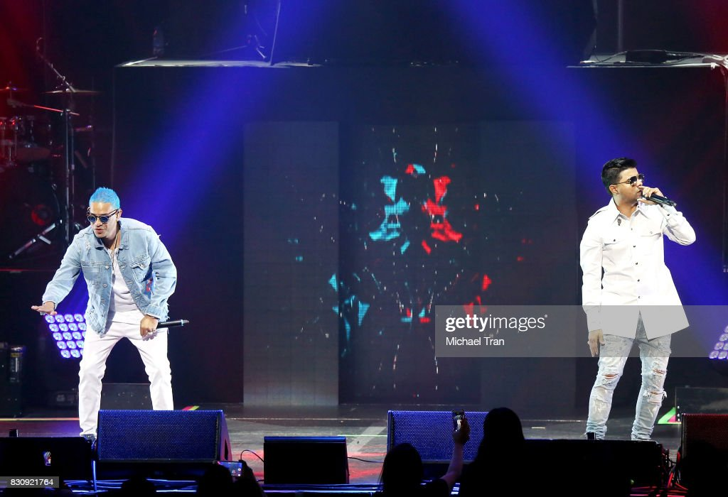 Chencho y Maldy of Plan B perform onstage during the 2017 El Ganador US Tour held at Microsoft Theater on August 12, 2017 in Los Angeles, California.