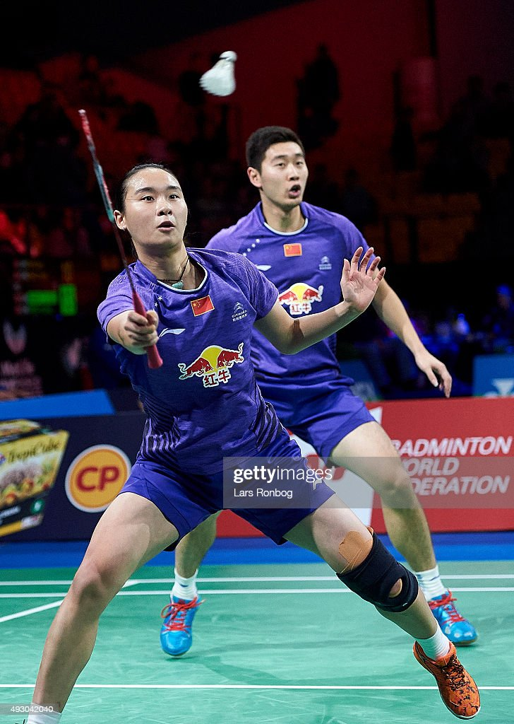 LIU Cheng and BAO Yixin of China in action during Semifinals at the MetLife BWF World Superseries Premier Yonex Denmark Open Badminton at Odense Idratshal on October 17, 2015 in Odense, Denmark.