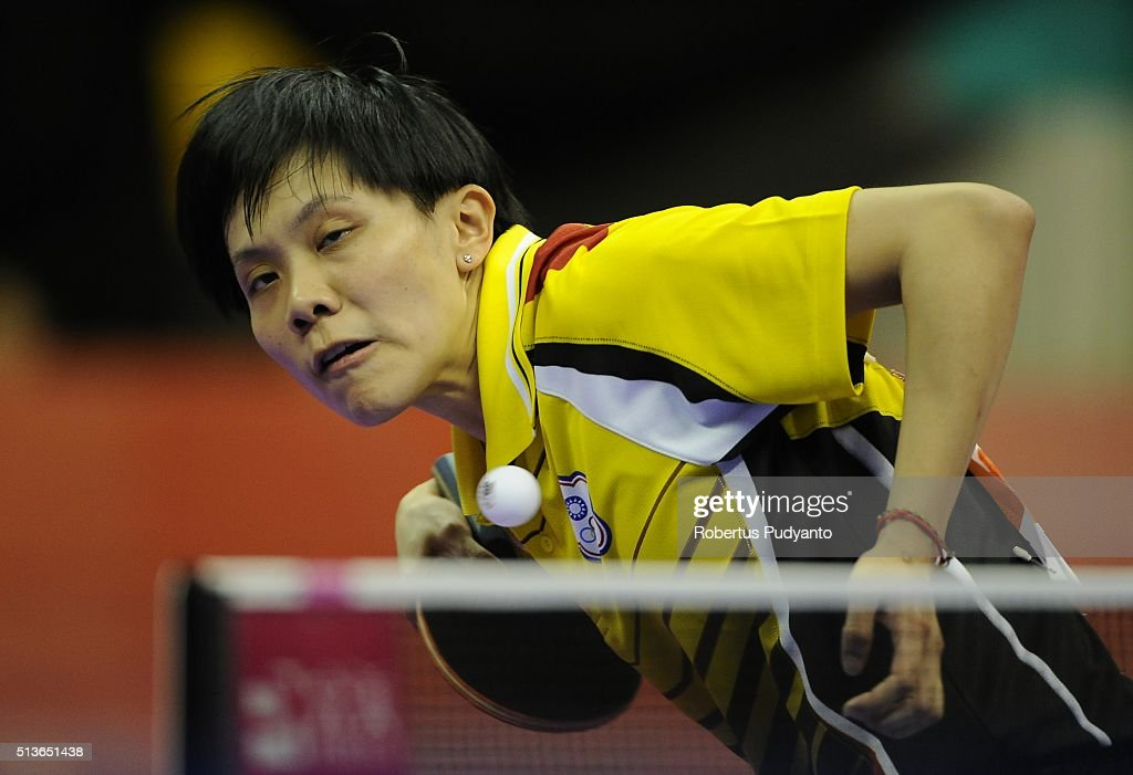 Cheng I Ching of Chinese Taipei competes against Tie Yana of Hong Kong during the 2016 World Table Tennis Championship Women's Team Division quarter-final match at Malawati Stadium on March 4, 2016 in Shah Alam, Malaysia.