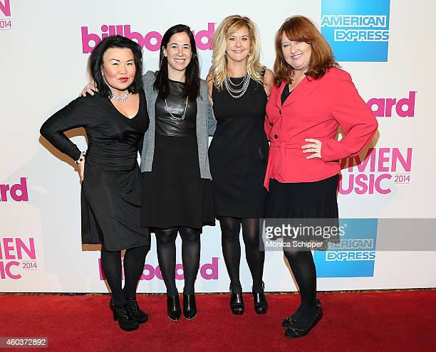 JJ Cheng Kelli Turner Ellen Truley and honoree Linda Lorence Critelli attend the 2014 Billboard Women In Music Luncheon at Cipriani Wall Street on...