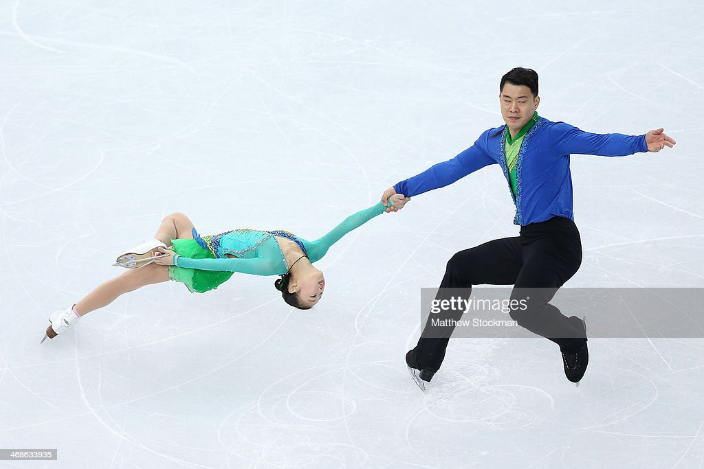Cheng Peng and Hao Zhang of China compete during the Figure Skating Pairs Short Program on day four of the Sochi 2014 Winter Olympics at Iceberg Skating Palace on February 11, 2014 in Sochi, Russia.