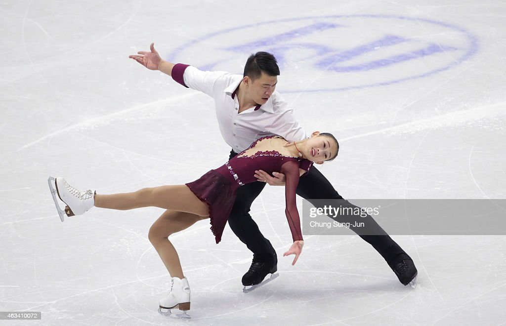 Cheng Peng and Hao Zhang of China perform during the Pairs Free Skating on day three of the ISU Four Continents Figure Skating Championships 2015 at the Mokdong Ice Rink on February 14, 2015 in Seoul, South Korea.