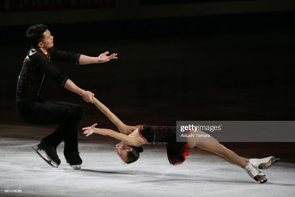 Cheng Peng and Hao Zhang of China perform their routine in the exhibition during ISU World Figure Skating Championships at Saitama Super Arena on March 30, 2014 in Saitama, Japan.