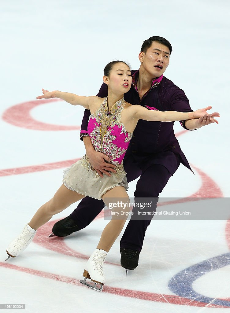Cheng Peng and Hao Zhang of China skate during the Pairs Free Skating on day two of the Rostelecom Cup ISU Grand Prix of Figure Skating 2015 at the Luzhniki Palace of Sports on November 21, 2015 in Moscow, Russia.