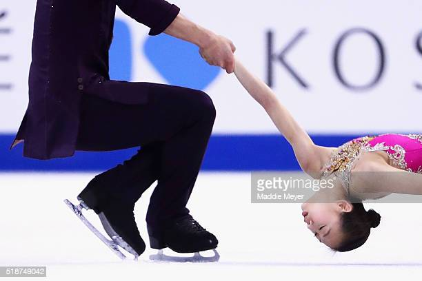 Cheng Peng and Hao Zhang of China skate in the Pairs Free Skate on Day 6 of the ISU World Figure Skating Championships 2016 at TD Garden on April 2...