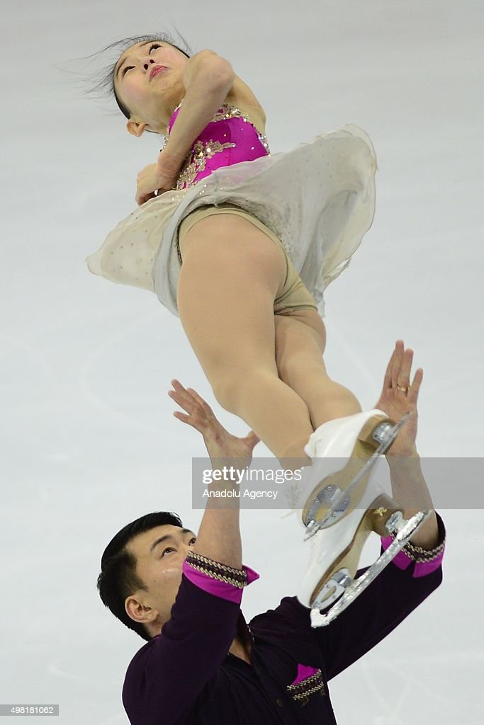 Cheng Peng and Hao Zhang of China skate in the Pairs Free Skating during Rostelecom Cup ISU Grand Prix of Figure Skating 2015, at the Small Sports Arena of Olympic Complex Luzhniki, in Moscow, Russia, on November, 21,2015.
