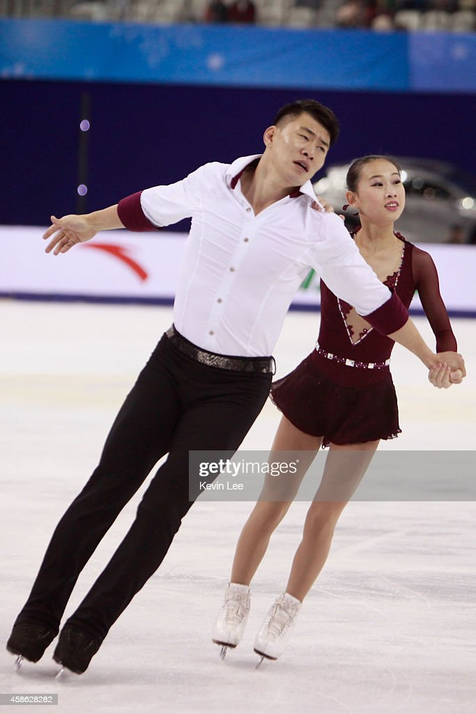 Cheng Peng and Hao Zhang skates in Pairs Free Skating during the Lexus Cup of China 2014 on November 8, 2014 in Shanghai, China.