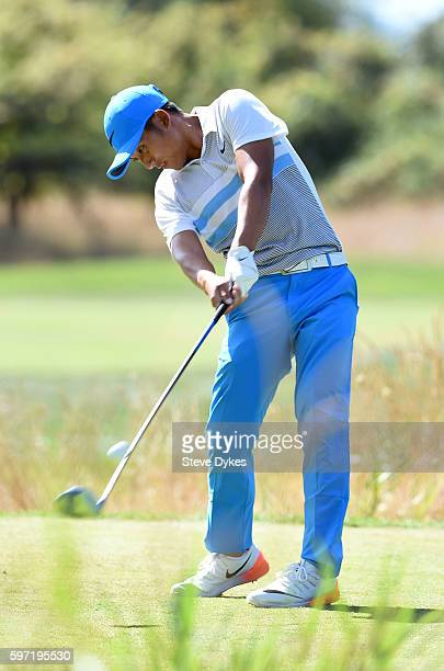Cheng Tsung Pan of Taiwan hits his drive on the third hole during the final round of the WinCo Foods Portland Open at Pumpkin Ridge Golf Club on...