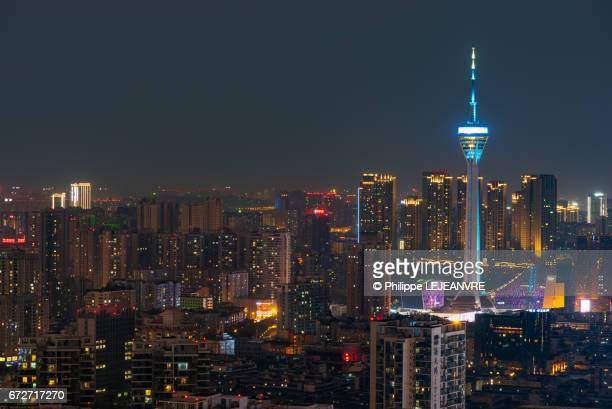 Chengdu buildings and TV tower at night