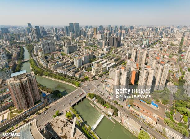 Chengdu city skyline aerial view on a sunny day