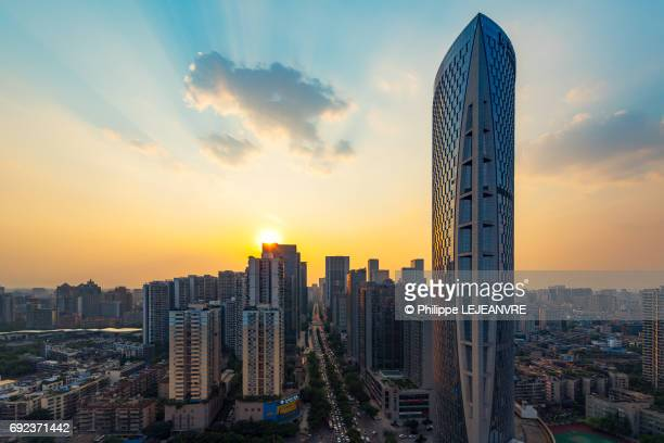 Chengdu downtown skyline at sunset