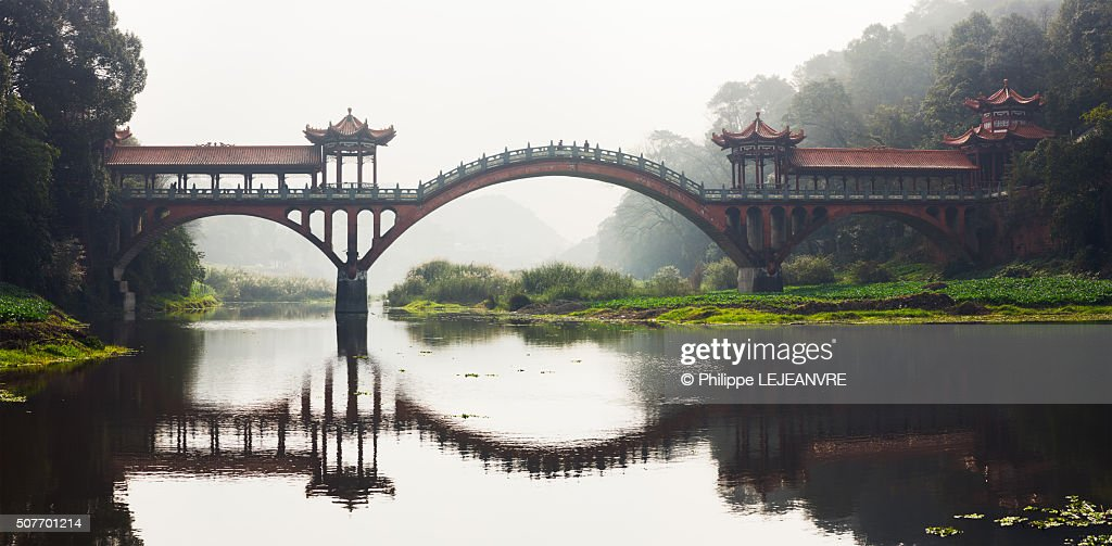 Chengdu Leshan ZhuoYing ancient bridge panorama