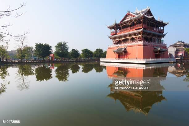 Chengdu - Luodai - Temple against blue sky reflecting in water