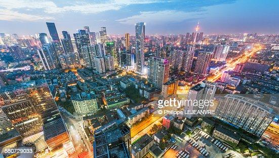 Chengdu skyline aerial view