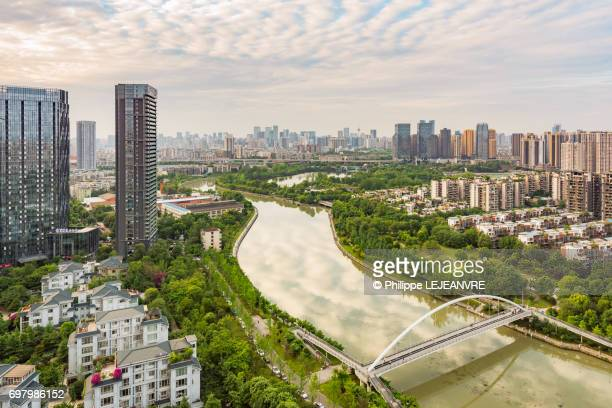 Chengdu skyline and river aerial view in day light
