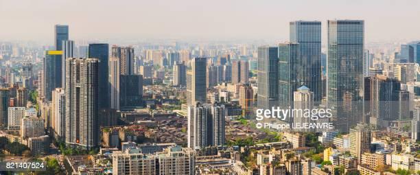 Chengdu skyline panorama in daylight