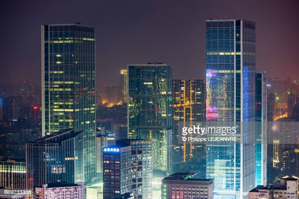 Chengdu skyscrapers aerial view at night