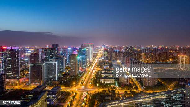 Chengdu software park aerial view at night