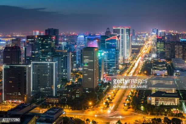 Chengdu south software park skyline aerial view at night - China