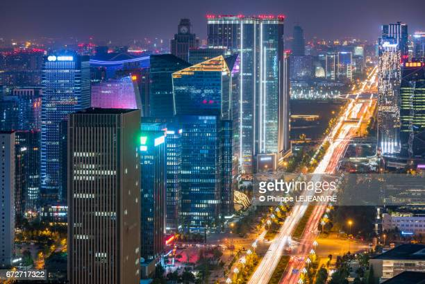 Chengdu south software park skyline close-up aerial view at night