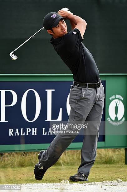 ChengTsung Pan of Taiwan hits a tee shot during a practice round prior to the start of the 143rd Open Championship at Royal Liverpool on July 16 2014...