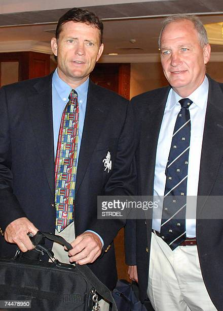 Prospective candidates for the post of the Indian cricket team coach England's John Embury and South African Graham Ford arrive for a meeting with...
