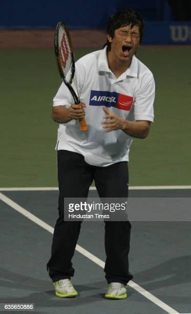 Chennai Open Tennis 2010 Baichung Bhutia Rohan Bopanna vs Mahesh Bhupathi Surya Tamil actor playing entertainment match at Aircel Chennai 2010 at...