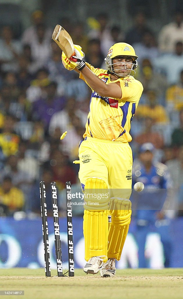 Chennai Super King batsman Ravindra Jadeja bowled by Mumbai Indians bowler Lasith Malinga ( Not seen in picture) during inaugural cricket match of Indian Premier League 2012 played between Mumbai Indians And Chennai Super Kings on April 4, 2012 in Chennai, India.