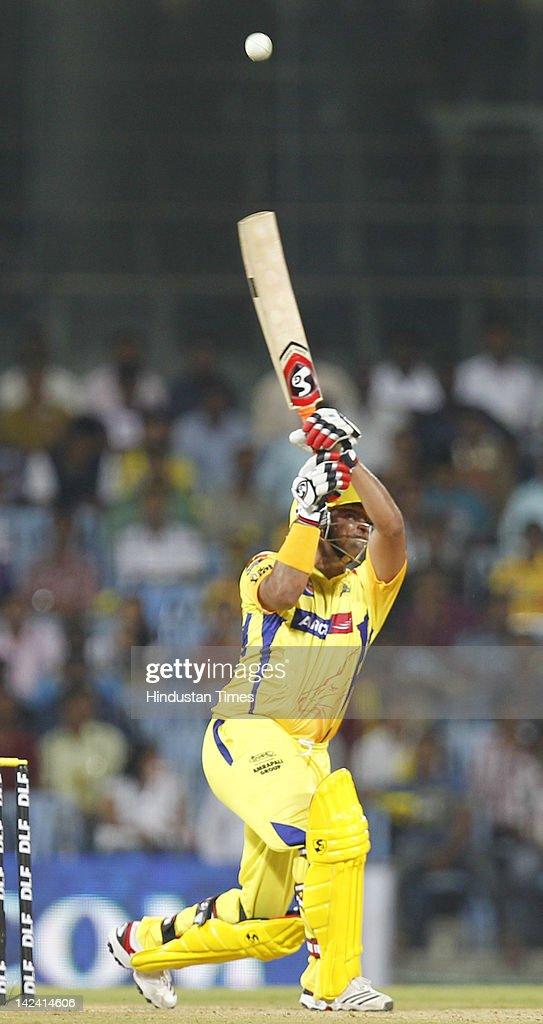 Chennai Super King batsman Suresh Raina plays a shot during inaugural cricket match of Indian Premier League 2012 played between Mumbai Indians And Chennai Super Kings on April 4, 2012 in Chennai, India.