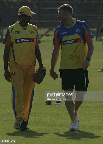 IPL2 Chennai Super King's Andrew Flintoff and bowling coach Venkatesh Prasad during the team's practice session at Ballville Cape Town
