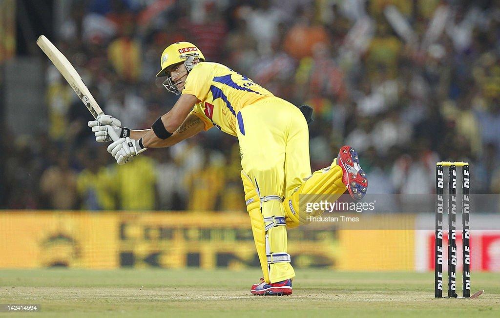 Chennai Super Kings batsman Faf du Plessis plays a shot during inaugural cricket match of Indian Premier League 2012 played between Mumbai Indians And Chennai Super Kings on April 4, 2012 in Chennai, India.