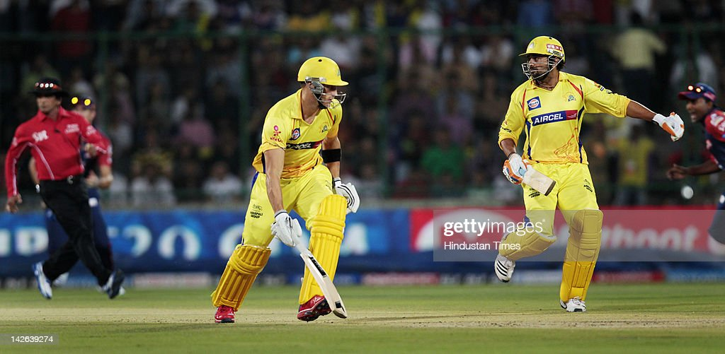 Chennai Super Kings batsman Murli Vijay (R) and Faf du Plessis (L) run in the same direction before Murli was run out by Delhi Daredevils player Mahela Jayawardene during the IPL 5 cricket match between Delhi Daredevils and Chennai Super Kings at Ferozshah Kotla Ground on April 10, 2012 in New Delhi, India. Batting first after losing the toss Chennai Super Kings posted a target of 111 runs to win for Delhi Daredevils.