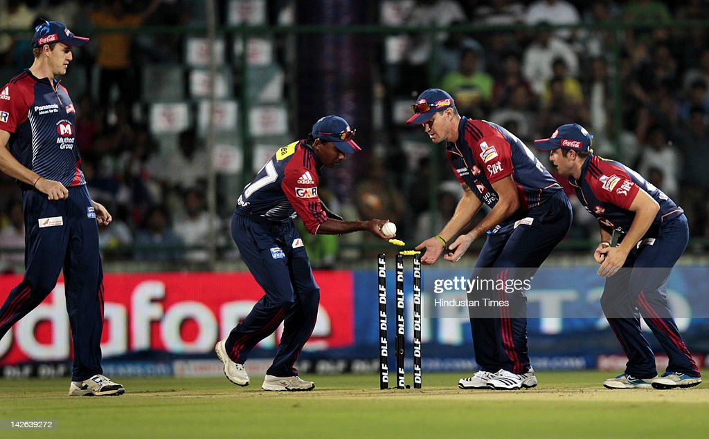 Chennai Super Kings batsman Murli Vijay (not pictured) is run out by Delhi Daredevils player <a gi-track='captionPersonalityLinkClicked' href=/galleries/search?phrase=Mahela+Jayawardene&family=editorial&specificpeople=213707 ng-click='$event.stopPropagation()'>Mahela Jayawardene</a> during the IPL 5 cricket match between Delhi Daredevils and Chennai Super Kings at Ferozshah Kotla Ground on April 10, 2012 in New Delhi, India. Batting first after losing the toss Chennai Super Kings posted a target of 111 runs to win for Delhi Daredevils.