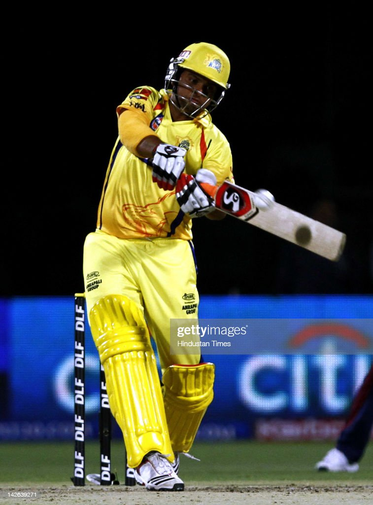 Chennai Super Kings batsman <a gi-track='captionPersonalityLinkClicked' href=/galleries/search?phrase=Suresh+Raina&family=editorial&specificpeople=542210 ng-click='$event.stopPropagation()'>Suresh Raina</a> plays a shot during the IPL 5 cricket match between Delhi Daredevils and Chennai Super Kings at Ferozshah Kotla Ground on April 10, 2012 in New Delhi, India. Batting first after losing the toss Chennai Super Kings posted a target of 111 runs to win for Delhi Daredevils.