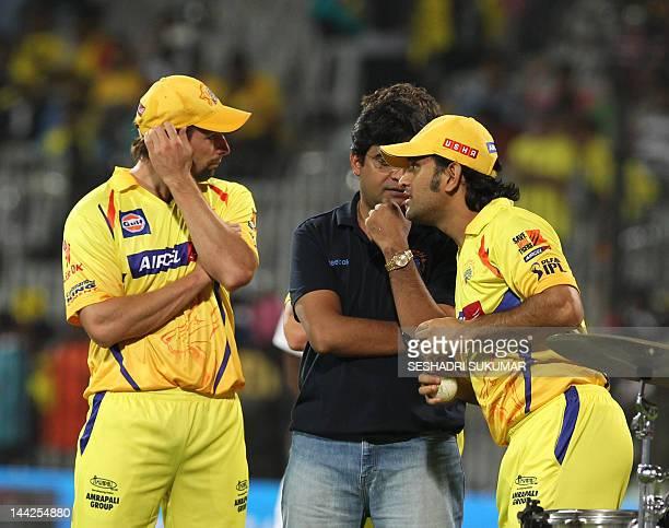 Chennai Super Kings captain MS Dhoni CSK owner Gurunath Meiyappan and Ben Hilfenhaus attend the presentation ceremony during the IPL Twenty20 cricket...