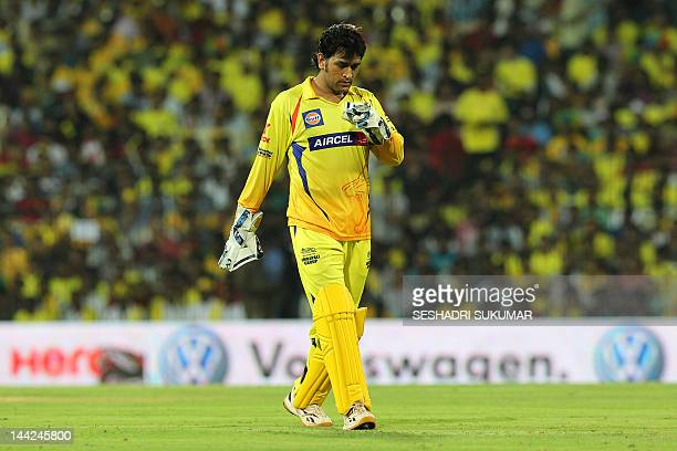 Chennai Super Kings Captain MS Dhoni reacts during the IPL Twenty20 cricket match between Chennai Super Kings and Delhi Daredevils at The...