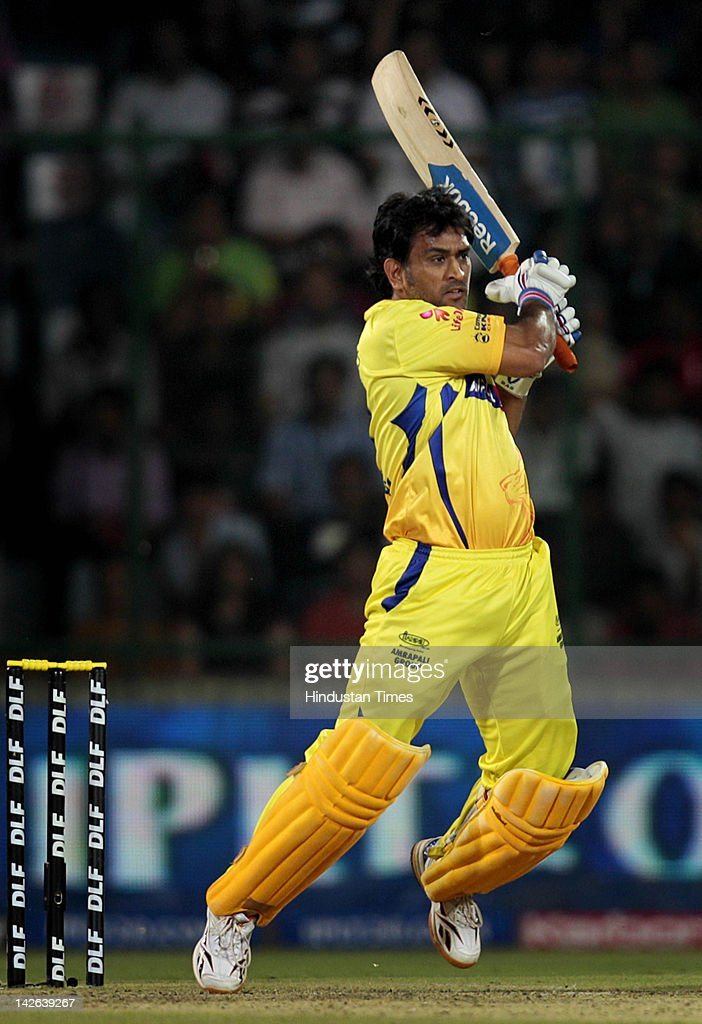 Chennai Super Kings captain M S Dhoni plays a shot IPL 5 cricket match between Delhi Daredevils and Chennai Super Kings at Ferozshah Kotla Ground on April 10, 2012 in New Delhi, India. Batting first after losing the toss Chennai Super Kings posted a target of 111 runs to win for Delhi Daredevils.