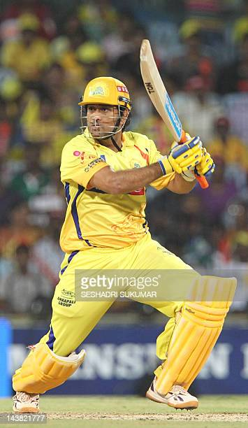Chennai Super Kings captain Mahendra Singh Dhoni plays a shot during the IPL Twenty20 cricket match between Chennai Super Kings and Deccan Chargers...