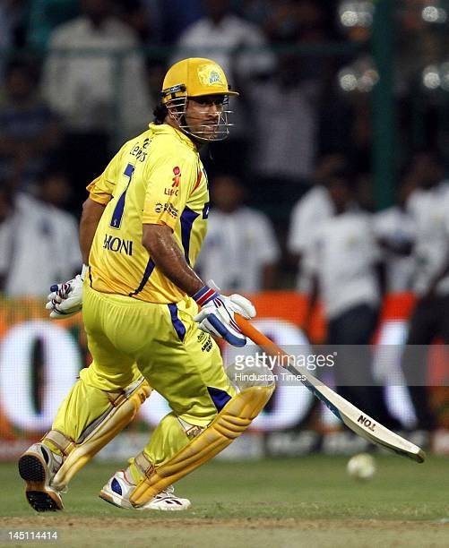 Chennai Super Kings captain Mahendra Singh Dhoni taking run in first eliminator match of IPL 5 played between Mumbai Indians and Chennai Super Kings...
