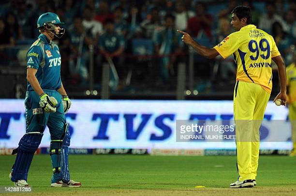 Chennai Super Kings cricketer Ravichandran Ashwin exchanges words with Pune Warriors India batsman Steven Smith during the IPL Twenty20 cricket match...