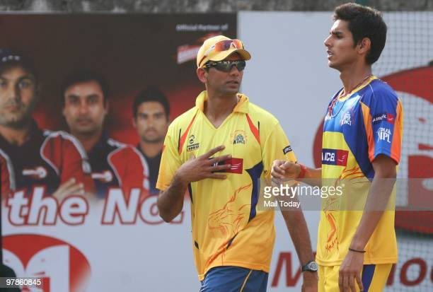 Chennai Super Kings players Venkatesh Prasad and Sudip Tyagi during a training session before the IPL match against Delhi Daredevils in Ferozeshah...