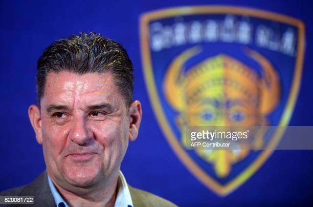 Chenniayin FC's new head coach John Gregory is introduced at an event in Chennai on July 21 ahead of the 2017 edition of the Indian Super League /...