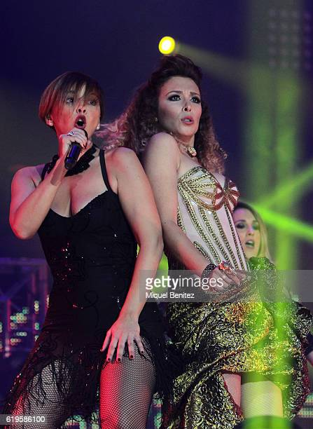 Chenoa and Gisela Llado perform on stage 'Operacion Triunfo El Reencuentro' Concert at Palau de Sant Jordi on October 31 2016 in Barcelona Spain