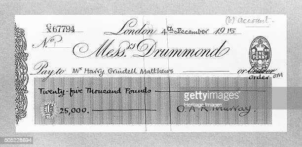 Cheque for £25000 made payable to Mr Harry Grindell Matthews December 1915 Matthews was an inventor best known for his claim to have invented a death...
